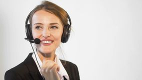 Smiling callcenter operator stock video footage