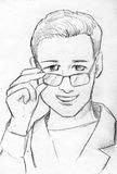 Smiling young doctor pencil sketch. Hand drawn pencil sketch of a smiling young doctor looking over his glasses Stock Photos