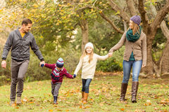 Smiling young family holding hands Stock Images