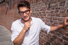 Smiling young fashion man looking to the camera Stock Images