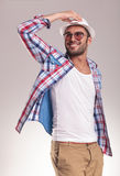 Smiling young fashion man looking up Royalty Free Stock Photography