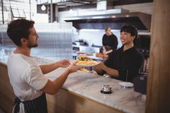 Smiling young female chef giving burger and fries to waiter. At coffee shop Royalty Free Stock Images