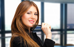 Smiling young female manager portrait Stock Images