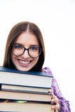 Smiling young female student with books Royalty Free Stock Photos