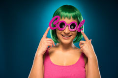 Smiling Young Female Wearing Pink Cool Shades Stock Image