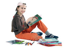 Smiling young girl with books. Isolated Stock Photo