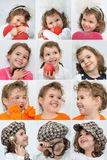 Smiling young girl. Collage of twelve photos of a smiling young girl Royalty Free Stock Photos
