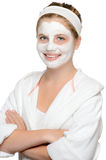 Smiling young girl facial mask waiting beauty Stock Photography