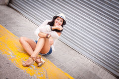 Smiling young girl happy lifestyle outdoor Stock Photos