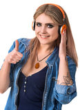 Smiling young girl in headphones Royalty Free Stock Image