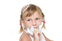 Smiling young girl in medical mask Stock Photos