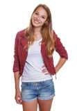 Smiling young girl in short pants Royalty Free Stock Image