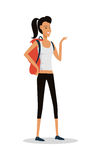 Smiling Young Girl in Shorts with Backpack. Vector Royalty Free Stock Photography