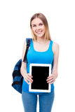 Smiling young girl showing tablet computer screen Stock Photos