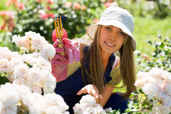 Smiling young girl in uniform working with roses Royalty Free Stock Photos