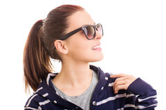 Smiling young girl wearing sunglasses Royalty Free Stock Photo