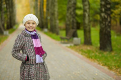 Smiling young girl in white beret Royalty Free Stock Photo