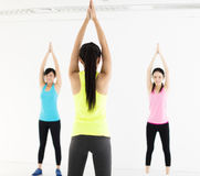 Smiling young  group stretching in gym Stock Photography