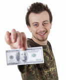 Smiling young guy holding one hundred dollars Stock Photography