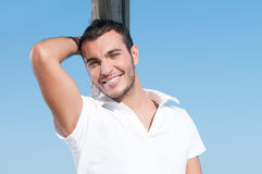 Smiling young guy outdoor Stock Photos