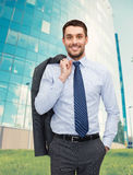 Smiling young and handsome businessman Royalty Free Stock Photos