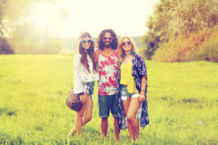 Smiling young hippie friends on green field Stock Photo