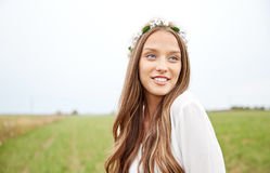 Smiling young hippie woman on cereal field Royalty Free Stock Photo