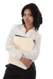 Smiling Young Hispanic Businesswoman Holding Documents Stock Images