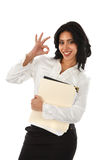 Smiling Young Hispanic Businesswoman with OK sign Stock Image