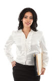 Smiling Young Hispanic Businesswoman Standing sign Royalty Free Stock Images