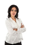 Smiling Young Hispanic Businesswoman with on White Stock Image