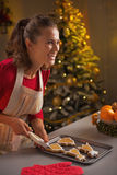 Smiling young housewife decorating christmas cookies with glaze Royalty Free Stock Photography