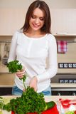 Smiling young housewife mixing fresh salad Stock Photos