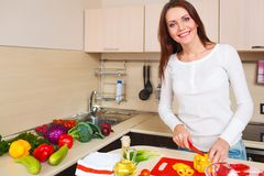 Smiling young housewife mixing fresh salad Stock Images