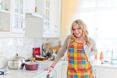 Smiling young housewife in modern kitchen Royalty Free Stock Image