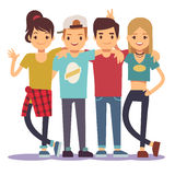 Smiling young hugging friends. Adolescentes friendship vector concept stock illustration