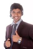Smiling young indian call center executive Stock Photo