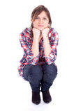 Smiling young lwoman in check shirt Royalty Free Stock Photos