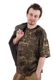 Smiling young man in camouflage shirt Royalty Free Stock Image