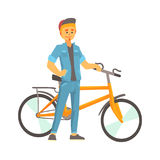 Smiling young man in casual clothes standing next to a bike, sport lifestyle, vector. Illustration on a white background Stock Photography