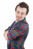 Smiling young man with casual shirt Stock Image