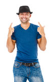 Smiling young man gesturing Royalty Free Stock Images