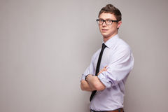 Smiling young man in glasses Stock Photos
