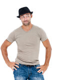 Smiling young man with a hat Royalty Free Stock Photos