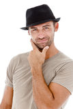 Smiling young man with a hat Royalty Free Stock Photography