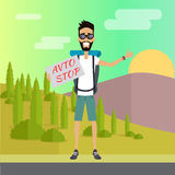 Smiling Young Man Hitchhiking. Hitchhiking travel concept. Hitchhiker and traveler shows gesture hitchhiking. Auto stop tourism. Tourist with backpack. Smiling Stock Photo