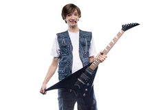 Smiling young man holding electric guitar Royalty Free Stock Photography