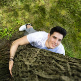 Smiling young man hugging a tree, looking up Royalty Free Stock Photo