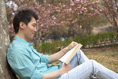Smiling young man leaning on a tree and enjoying his book, outdoors in a park Royalty Free Stock Photos