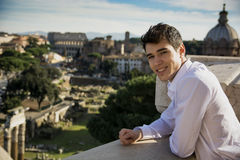Smiling Young Man Looking at the Outdoor View in Rome, Italy Stock Photos